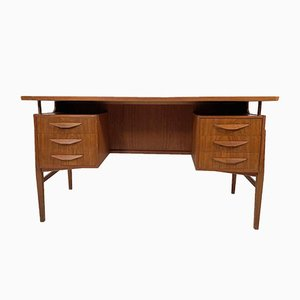 Vintage Danish Curved Teak Twin Pedestal Desk
