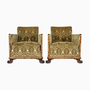 Vintage Scandinavian Art Deco Birch Club Armchairs, Set of 2