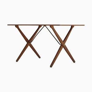 Cross-Legged Teak & Oak AT-308 Side or Coffee Table by Hans J. Wegner for Andreas Tuck, 1950s