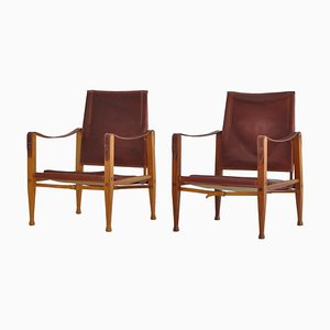 Red Leather and Ash Safari Lounge Chairs by Kaare Klint for Rud Rasmussen, 1950s, Set of 2