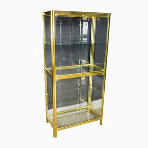 Hollywood Regency Brass Showcase Cabinet, 1970s