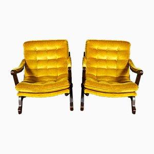 Gold Velvet Armchair, 1970s