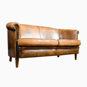 Vintage Brown Sheep's Leather Sofa