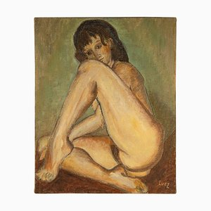 Nude Woman, 20th-Century, Oil on Canvas