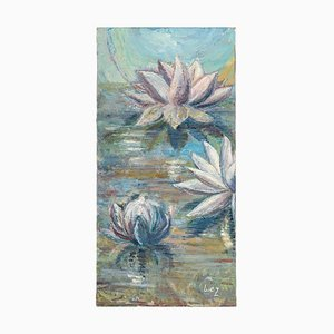 Water Lilies on the Water, 20th Century, Oil on Canvas