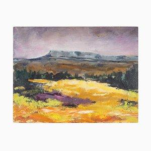 Field and Mountain, 20. Jahrhundert, Malerei auf Holz