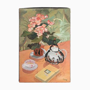 Table Garnished for Tea With a Bouquet of Flowers, Painting