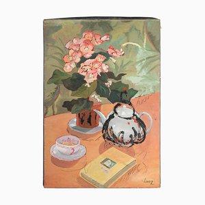 Tisch Garniert für Tee Mit Einem Blumenstrauß, Gemälde