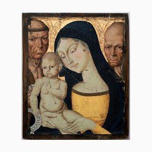 Jungfrau Maria mit St. Stephen und St. Bernardino, Tempera von einem Foreseur aus Siena, 1850er