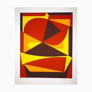 Victor Vasarely, Brown and Yellow Serigraph, 1989