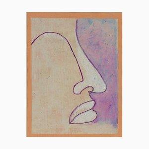 Sconosciuto, profilo di una donna, dipinto ad olio su tavola, fine XX secolo