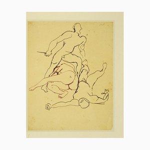Renato Guttuso, Fight, Vintage Offset, 1970er von Linke