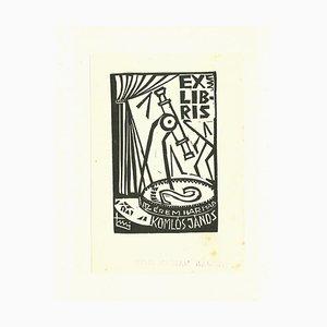 Unbekannt, Ex Libris Komlos, Holzschnitt, 1960er
