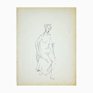 Herta Hausmann, Female Nudity 4, Black Marker Pen on Paper, 1950s