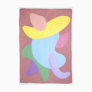 Abstrakte Figur Malerei, Art Deco Töne, Rosa, Lila und Lila, 2021