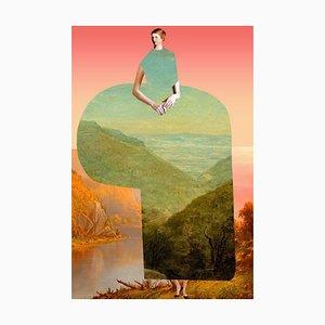 Teller Nr. 180, Abstrakt, Collage, Bemalte Landschaft