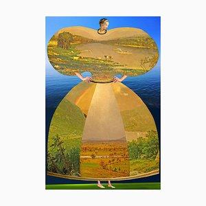 Teller Nr. 182, Abstrakt, Collage, Landschaft, Meer