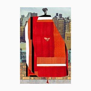 Teller Nr. 197, Abstrakt, Collage, Rot, Hoher Raum