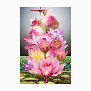 Teller Nr. 239, abstrakt, Collage, Lilien, Blumen