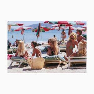 Saint Tropez Beach, Slim Aarons, 20th Century, Parasols