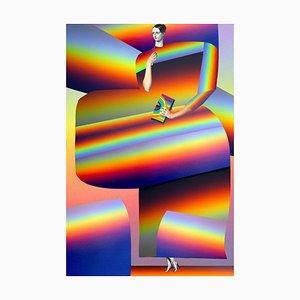 Teller Nr. 62, Abstrakt, Collage, Psychedelisch, Regenbogen