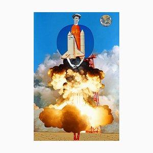 Teller Nr. 206, Abstrakt, Collage, Frauen in Geschichte, Raketenstart