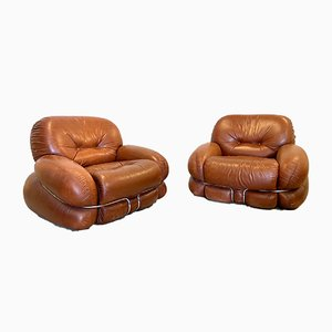 Model Okay Leather Armchairs by Adriano Piazzesi, 1970s, Set of 2