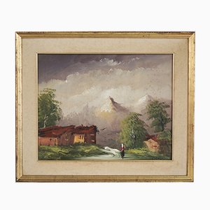 Dipinto ad olio su tela, paesaggio montano, Cakv