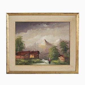 Pintura al óleo sobre lienzo, paisaje de montaña, Cakv