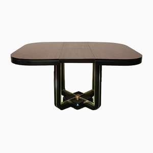 Mahogany Dining Table with Black Lacquered Wooden Base and Golden Aluminum, Italy, 1970s