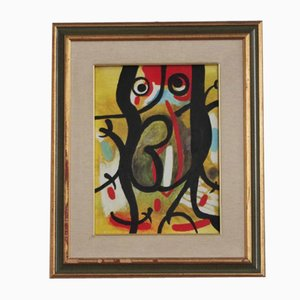 Peinture à l'Huile Abstraite sur Toile, 1980s