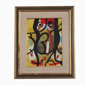 Pintura al óleo abstracta sobre lienzo, años 80