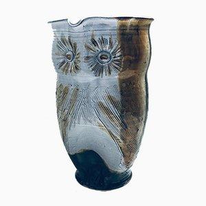 Jarra de jarra buho Studio Art vintage de cerámica de Tavares, años 70