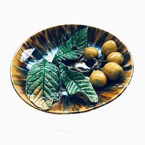 Early 20th Century French Art Ceramic Barbotine Citrus Fruit Wall Plate, 1920s
