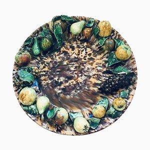 Französischer XL Art Czech Barbotine Obstteller, Frankreich, 1920er