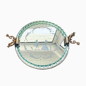 Espejo italiano de espejo grabado y bandeja de latón de Barovier & Toso, años 50