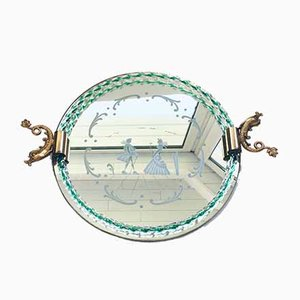 Italian Etched Mirror Glass & Brass Tray by Barovier & Toso, 1950s