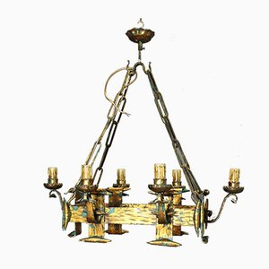 Lámpara de araña italiana estilo renacentista rectangular, siglo XVIII