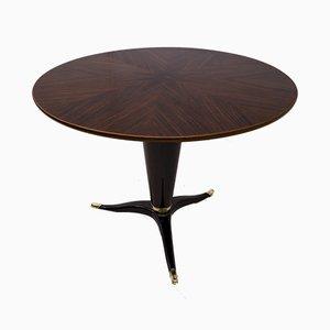 Mesa redonda de caoba y nogal de Paolo Buffa para La Permanente Furniture, Italy, años 50
