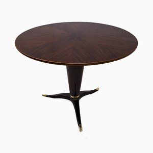Round Mahogany and Walnut Table by Paolo Buffa for La Permanente Furniture, Italy, 1950s