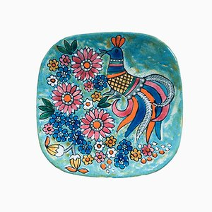 French Hand-Painted Art Pottery Charger Dish by Marjatta Taburet Quimper, 1960s