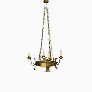 Lámpara de araña estilo Renaissance italiana antigua redonda, siglo XVIII