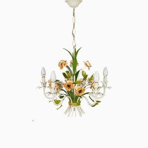 Lámpara de araña de hierro forjado con flores