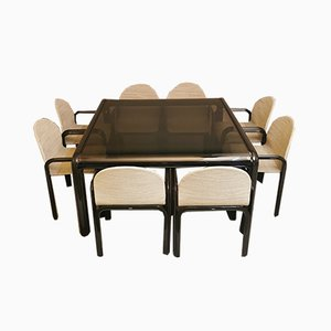 Brown Enameled Aluminum Table and Chairs by Gae Aulenti Lunch for Knoll International, 1970s, Set of 8