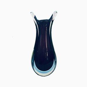 XL Mid-Century Italian Modern Murano Sommerso Stem Vase by Flavio Poli, 1960s