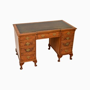 Antique Burr Walnut Pedestal Desk with Leather Top