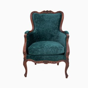 French Louis Philippe Style Bottle-Green Armchair, 1910s