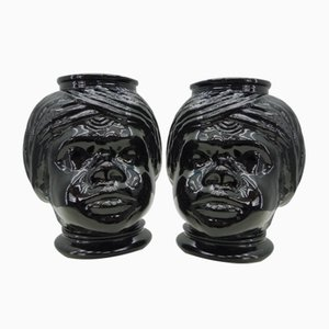 Italian Decorative Flower Pot Ceramic Heads, 1960s Set of 2