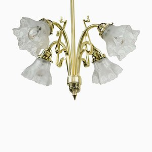 Art Nouveau Chandelier with Original Glass, 1908s