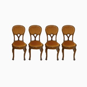 Art Nouveau Liberty Walnut Chairs, Set of 4